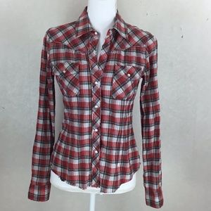 Theory Red Plaid Western Blouse